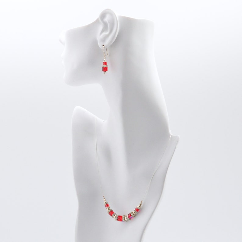 Ruby Red Swarovski Crystal Squaredelle Necklace earrings set image 0