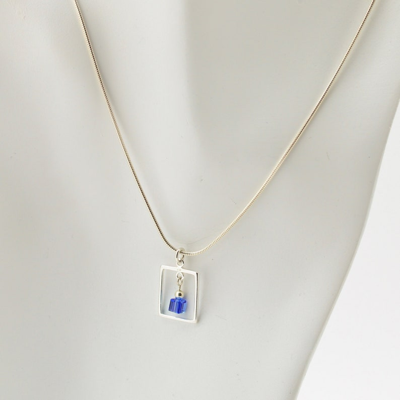 Sapphire Blue Swarovski Crystal Frame Necklace and Earrings image 0