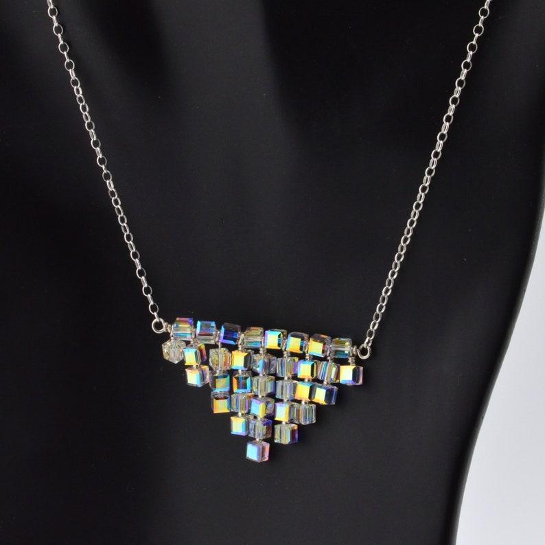 Clear Swarovski crystal bib necklace in sterling silver for image 0