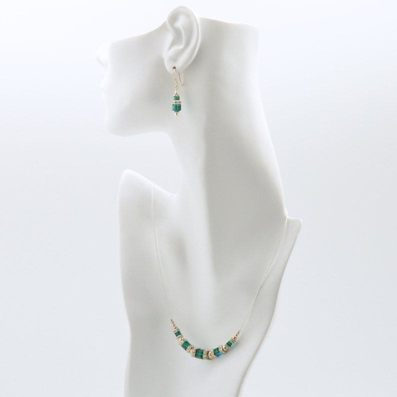 Emerald Green Swarovski Crystal Squaredelle Necklace earrings image 0