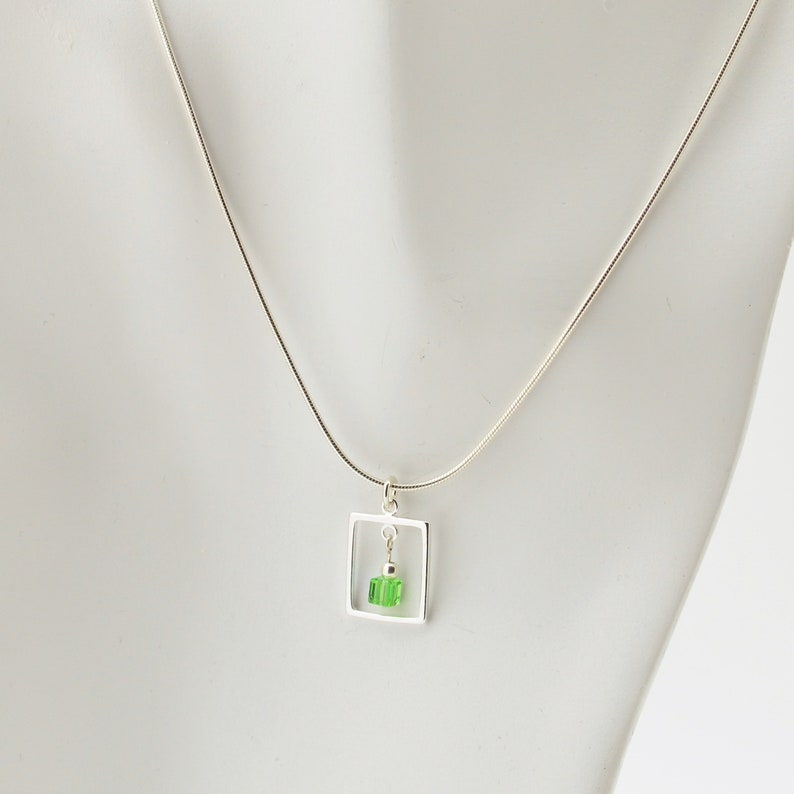 Peridot Green Swarovski Crystal Frame Necklace and Earrings image 0