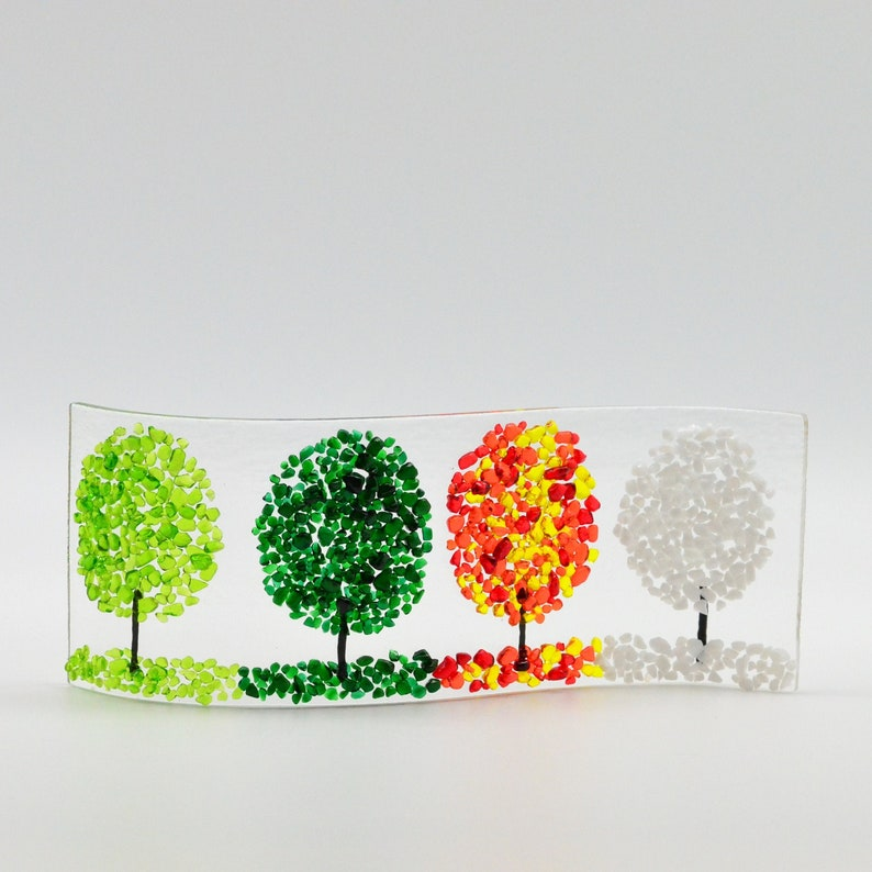 Fused Glass Four Season Trees Shelf/Window Sill Art Handmade image 0