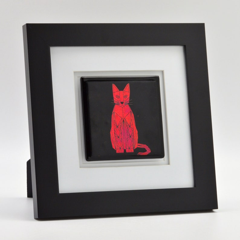 Dichroic Glass Geometric Cat Framed Wall or Table Art Color image 0