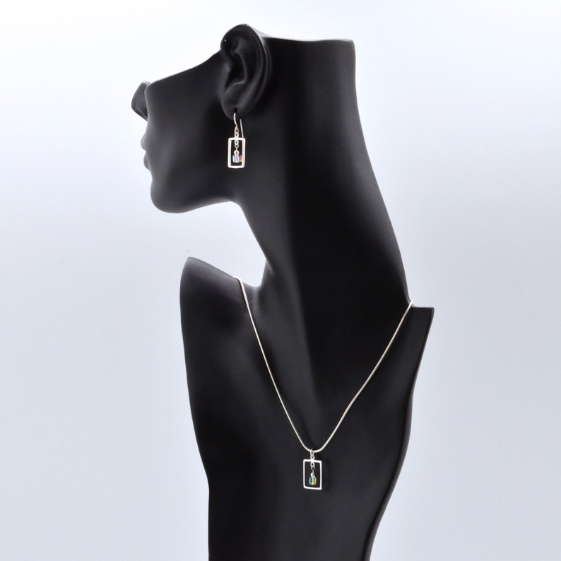 Clear Swarovski Crystal Frame Earrings Necklace Set April image 0