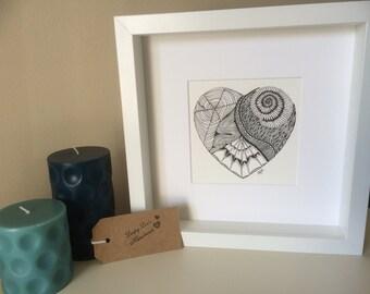 Heart Drawing - Original Zentangle