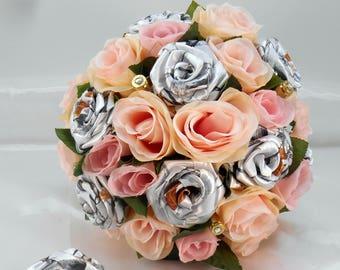 Snowfall Camo Bridal Bouquet, Wedding Bouquet, White Camo, Pink Bouquet, Camo Wedding, True Timber White Bouquet, Country Bouquet, Bullets