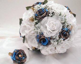 Blue Camo Wedding Bouquet, Blue Camo Bridal Bouquet, Blue True Timber, White Silk Flowers Flowers, Camo Wedding, Bullet Shells, Bridesmaid