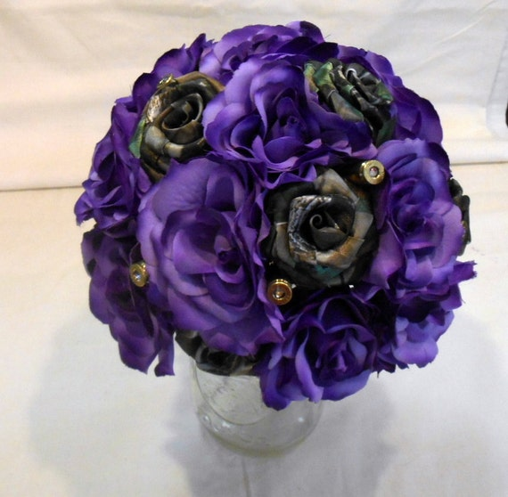 Mossy oak camo purple silk flower bouquet etsy mightylinksfo