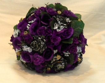 Purple Camo Wedding Bouquet, Purple Camo Bridal Bouquet, Camo Wedding, Silk Flowers, Mossy Oak Bouquet. Alternative Bouquet, Brass Bullets