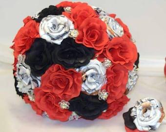 True Timber White Camo Bridal Bouquet, Camo Wedding Bouquet, True Timber Snowfall Camo, Red and Black, Black Bouquet, Red Bouquet, Rustic