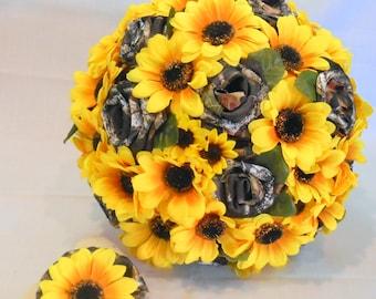 Sunflower Mossy Oak Camo, Sunflower Wedding Bouquet, Sunflower Bridal Bouquet, Keepsake Bouquet, Camo Wedding, Sunflower Bouquet