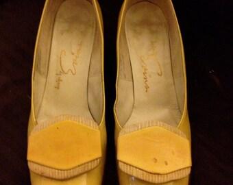 Vintage Ladies yellow leather heels