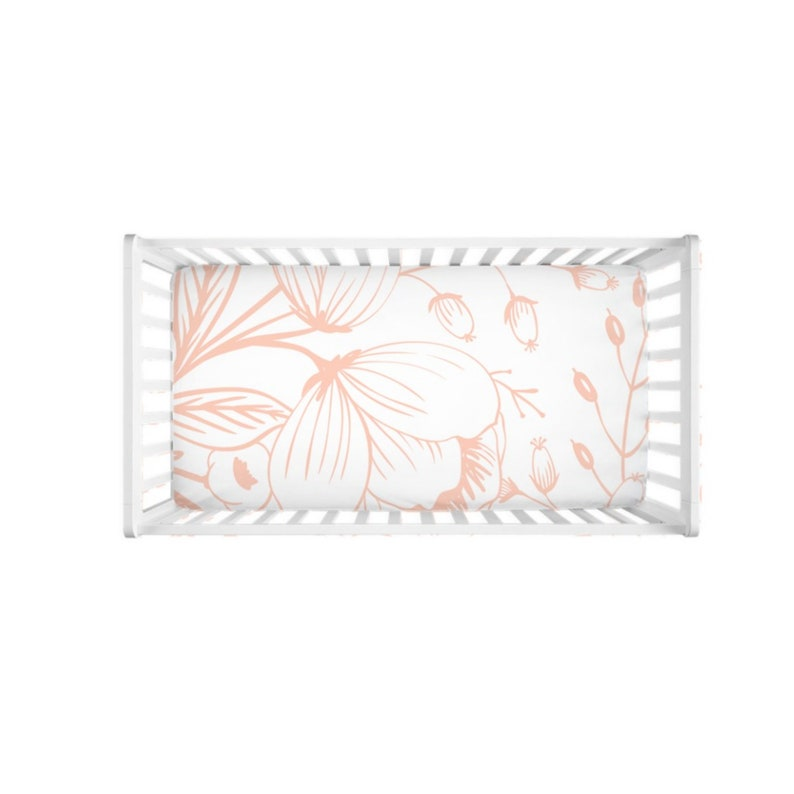 Crib Sheet Cotton Crib Sheet Blush Pink Floral Crib Sheet Baby Bedding Modern Floral Crib Sheet Girl Nursery Girl Crib Sheets