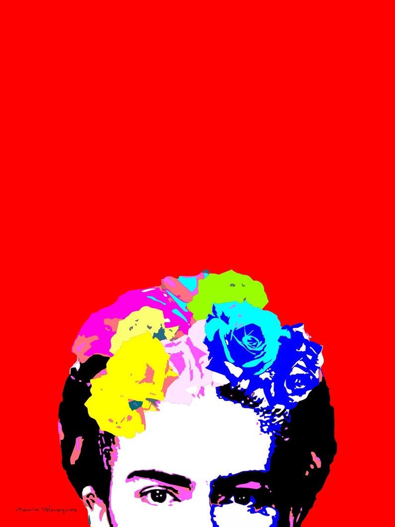 6886d03ea44 Retrato de Ojos de Frida Kahlo en Fondo Rojo Archivo