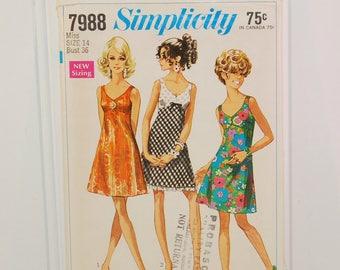 Vintage Simplicity 7988 Bra Dress, Sun Dress (c. 1968) Misses' and Junior Size 14, Bust Size 36 Inches, Summer Dress, Party Dress, Retro