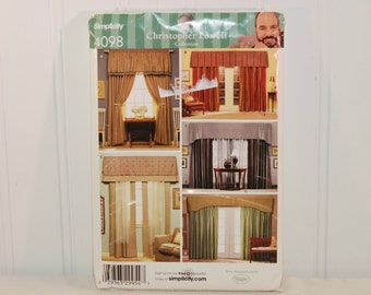 Simplicity 4098 Christopher Lowell Collection (c. 2006) Valances and Panels, Drapes, Curtains, Home Decor For Windows, French Doors, Sewing