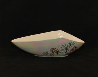 Scarce Vintage Roselane Pottery Pinecone Pattern Unique Shaped Bowl (c. 1940's-1950's) Pasadena, California Pottery, Iridescent Glaze