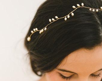 bridal hair vine, bridal headpiece, wedding hair vine, wedding hair accessory, pearl hair vine, wedding headband, wedding headpiece - SKYE
