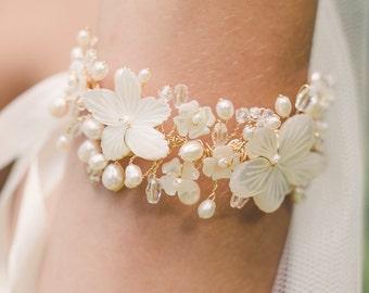 bridal bracelet, wedding bracelet, floral bracelet, wedding cuff bracelet, pearl bracelet, flower bracelet, wedding jewelry - ARIANNE