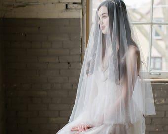 drop veil, two tier bridal veil, drop wedding veil, fingertip veil with blusher, english net drop veil, ivory drop veil - AVALINE
