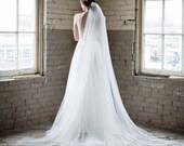 cathedral veil, chapel length veil, cathedral length wedding veil, ivory veil, english net veil, bridal veil, 1 tier veil - ANNABELLE