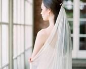 ivory silk wedding veil, silk bridal veil, silk tulle veil, chapel length silk wedding veil, fingertip silk veil, ivory bridal veil JASMINE