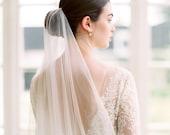 silk wedding veil, silk bridal veil, silk tulle veil, cathedral silk veil, long silk veil, chapel silk veil, modern wedding veil - NATHALIE