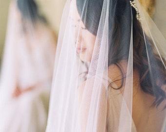 wedding veil with blusher, 2 tier bridal veil, soft wedding veil, bridal veil with blusher, ivory cathedral veil with blusher - VIVIANNE