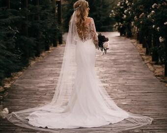 wedding veil, cathedral veil, cathedral wedding veil, long wedding veil, ivory bridal veil, chapel length veil, boho bridal veil - TALITHA