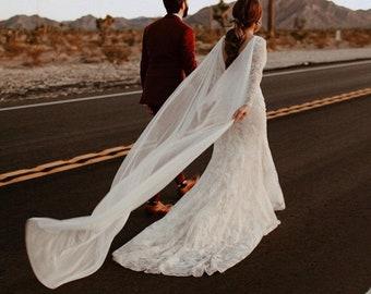 silk bridal cape, wedding cape, cape veil, silk cape, silk wedding cape, ivory bridal cape, ivory cape, shoulder cape - MARION