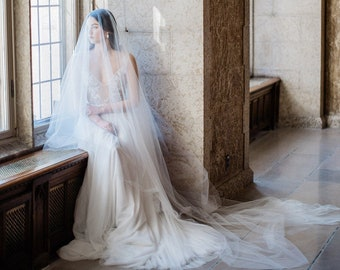 sheer blusher veil, wedding veil with blusher, cathedral blusher wedding veil, long blusher veil, bridal blusher veil - SOPHIA