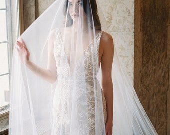 long blusher veil, wedding veil with long blusher, sheer bridal veil with blusher - SIERRA