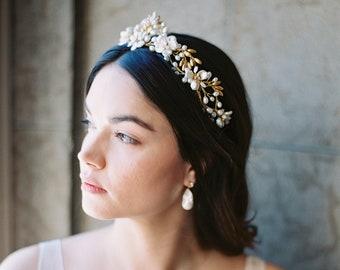 floral wedding crown, floral bridal tiara, pearl bridal crown, pearl wedding headpiece - JOSEPHINE