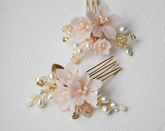 blush bridal hair combs, blush bridal headpiece, wedding headpiece blush flowers, blush wedding combs - PETAL