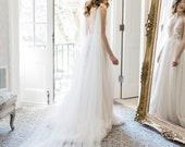 wedding cape, shoulder cape veil, ivory bridal cape, wedding coverup, bridal coverup, long shoulder train, draped cape - THEA