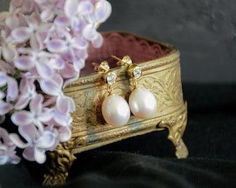pearl drop earrings, pearl bridal earrings, wedding earrings, minimalist pearl earrings, classic pearl earrings - EMMA