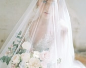 veil with blusher, wedding veil, english net veil, long veil, ivory bridal veil, drop veil, chapel veil, cathedral veil - VICTORIA