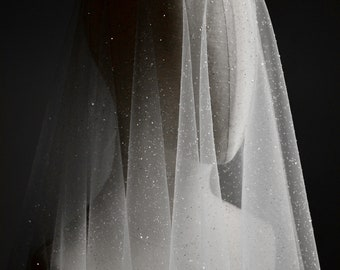 sparkling wedding veil, embellished bridal veil, long wedding veil with blusher, sparkly veil - CAPELLA