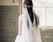 draped veil, silk veil, ivory bohemian wedding veil, silk draped veil, bohemian veil, bridal draped veil, silk wedding veil - MARIA
