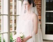 wedding veil with blusher, bridal veil, 2 tier wedding veil, blusher veil, drop veil, simple wedding veil, sheer wedding veil - ARIA