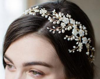 bridal headpiece, wedding headband, bridal crown, wedding headpiece, bridal headband, wedding crown, pearl crown, wedding tiara - AYAME