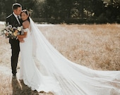 wedding veil, bridal veil cathedral, ivory wedding veil, soft wedding veil, long wedding veil, 1 tier veil, modern veil - TALITHA