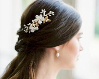 bridal hair comb, wedding comb, bridal headpiece, wedding headpiece, wedding hair comb, floral bridal hair accessory - ILSE