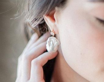 pearl drop earrings, baroque pearl earrings, bridal pearl earrings, statement wedding earrings with pearls - LIOR