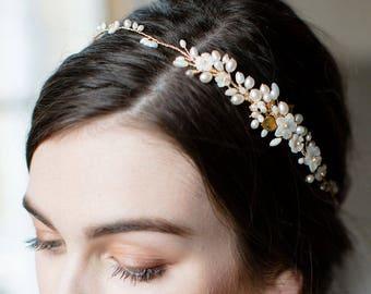 bridal headpiece, wedding hair vine, bridal headband, pearl wedding hair accessories, bridal hair vine, wedding headpiece - KALEA
