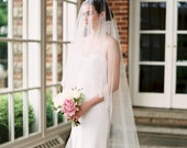 wedding veil with blusher, bridal veil, 2 tier wedding veil, blusher veil, drop veil, simple wedding veil, sheer wedding veil - ARIA