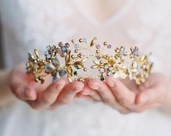 floral tiara, bridal tiara, wedding crown, colourful gold floral headpiece with butterflies - TITANIA