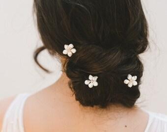 floral hair pins, bridal hair pins, wedding hair pins, flower hair pins, bridal headpiece, wedding hair accessories - CHERIE (set of three)