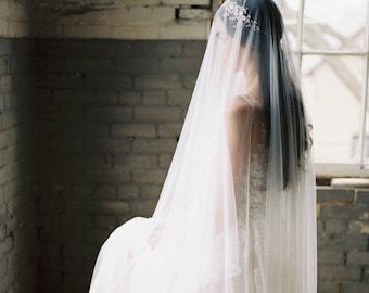 silk drop veil, silk blusher veil, silk wedding veil, silk bridal veil, ivory silk veil, silk fingertip veil, silk tulle veil - ANGELIQUE