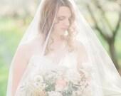 blusher veil, 2 tier wedding veil, two tier veil,  cathedral veil, blusher veil chapel, cathedral drop veil, long wedding veil - ADDISON